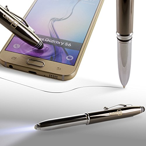 CoverON Stylus Pen 3 in 1 Function Luxury Black Ink Ballpoint Chrome Pen with Light and Stylus, Bright LED 1-Touch Flashlight + Smartphone Touch Screen Capacitive Stylus (Best Stylus For Smartphone)