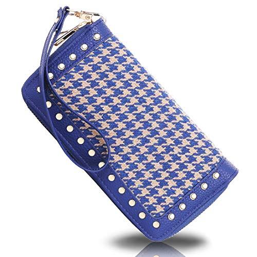 K A Double Zipper Around Wallet Clutch Large Travel Purse Chevron Zigzag RFID Blocking for Women, Girls (Blue)