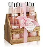 Spa Gift Basket with Heavenly Cherry Blossom Fragrance, Wooden Cabinet with 6 Bottles, Best Wedding, Birthday, Anniversary or Thank You Gift Set, Includes Shower Gel, Bubble Bath, Body Lotion & more!