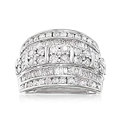 Sterling Silver Baguette Round Diamond Multi-Row Ring