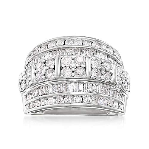 Ross-Simons 2.00 ct. t.w. Baguette and Round Diamond Multi-Row Ring in Sterling Silver Baguette Diamond Ring Setting