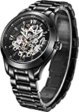 BOS Men's Automatic Self-wind Mechanical Skeleton Watch Black Dial Stainless Steel Band 9008G