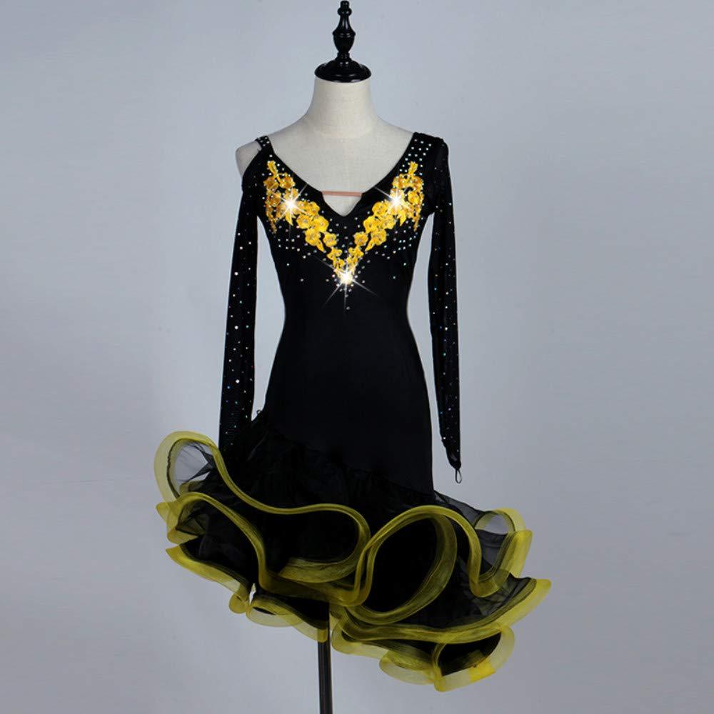 ラテンダンスドレス女性のトレーニングスパンデックスチュールアップリケクリスタルラインストーン長袖ハイドレス B07P8KK4T1 XXL|Yellow Yellow XXL