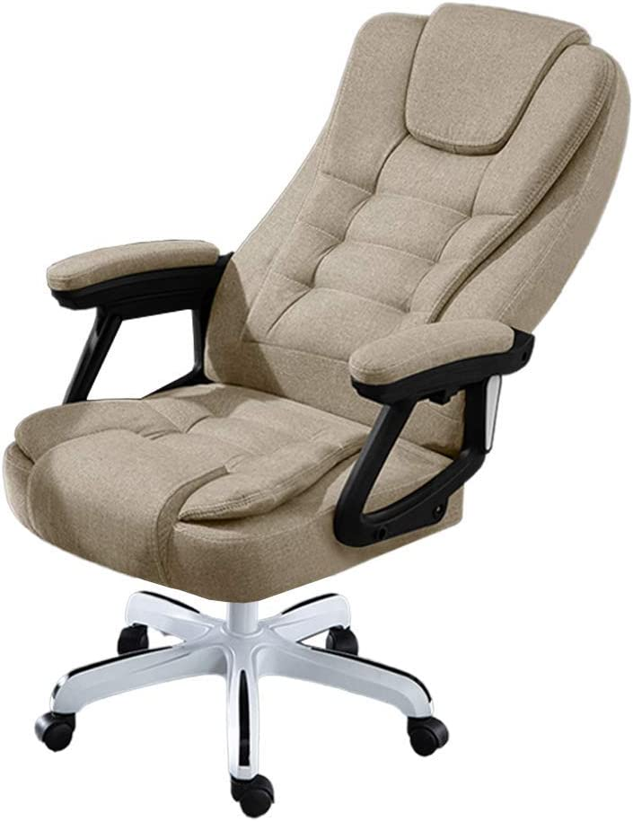 Ergonomic Executive Chair with Armrests and Wheels,High Back 145° Recline Office Chair with Lumbar Support,Adjustable Height Computer Chair Rolling Swivel, Fabric Khaki