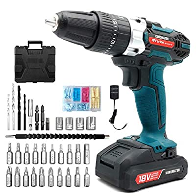 Kuromatsu Electric Drill Cordless Screwdriver Power Drill, 21+3 Torque Gears, DC18V 32N.m 2000mAh Variable Speed, LED Work Light, 34pcs Driver Bits