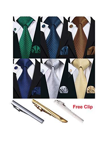 Check Square Cufflinks - Barry.Wang Men Check Tie Pocket Square Set with Tie Clip Cufflink Designer Silk Necktie 6PCS