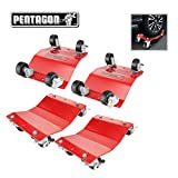 Pentagon Tool | Commercial Grade | 2-Pack and 4-Pack | Tire Dolly - Tire Skates | 3,000 lbs Rating | Red and Black (4 Pack, Red)
