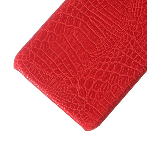iPhone 8 Case, Leather Case, Flip Case, Crocodile Pattern Leather Case, Protective Case, Phone Case - Leather Back Cover Case (Red Crocodile Pattern)