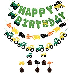 TiiMi Party Green Tractor Happy Birthday Banner Tractor Garland Banner Tractor Cake Toppers for Tractor/Farm / John Deere Themed Birthday Party Supplies Decorations