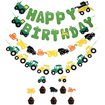 Tiimi Party Green Tractor Happy Birthday Banner Tractor Garland Banner Tractor Cake Toppers For Tractor Farm John Deere Themed Birthday Party Supplies