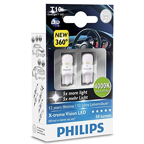 Pack of 2 Xtreme Vision 360 X treme Ultinon Philips W5W T10 194 168 LED Bulbs (4000K)