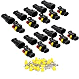 MUYI 1/2/3/4/5/6 Way Pin Car Waterproof Electrical Wire Connector Plug Terminals HID (10 Kits, 2 Pin)