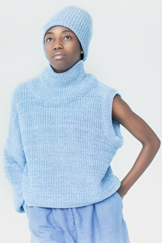 One shoulder sweater One sleeve knit sweater One sleeve knit pullover Light blue sweater Light blue top Blue turtleneck pullover by Esh by esh