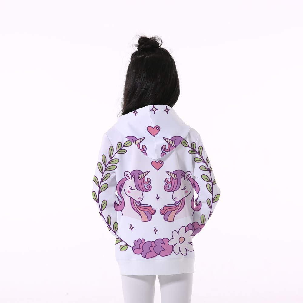 EnlaMorea Girls Cute Cartoon Unicorn Print Pullover Hoodies Hooded Sweatshirt