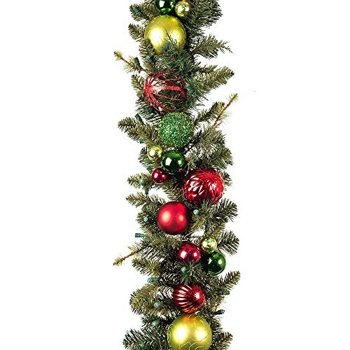 [9 Foot Artificial Christmas Garland] - Festive Holiday Collection - Red and Green Decoration - Pre Lit with 100 Warm Clear Colored LED Mini Lights - Includes Remote Controlled Battery Pack with Timer (Commercial Garland)