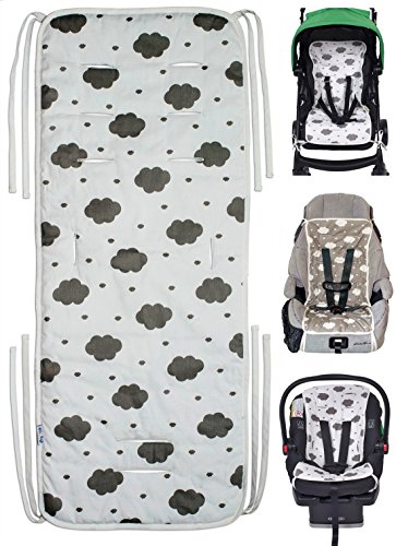 Reversible Pure Cotton Universal Baby Seat Liner for Stroller, Car Seat, Jogger, Bouncer | Thick Cushion | Supports Newborns, Infants, and Toddlers | Quick and Easy Install (Baby Stroller For Newborn)