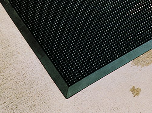 Rhino Mats FT3660 Recycled Heavy-Duty Rubber Tritan Finger Tip Entrance Mat, 36'' Width x 60'' Length x 5/8'' Thickness, Black by Rhino Mats
