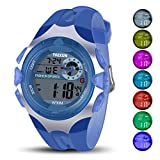 Kids Digital Watch - 100FT Waterproof LED Sport Hand Watch with Alarm, Chronograph - Electronic Wristwatch with Silicone Watches Band for Boys Girls