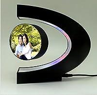 KKLL C Shape DIY Magnetic levitation floating Black Photo frame Display of picture Home Decoration Pictures Frames Oval Shaped Colorful Decoration LED Light