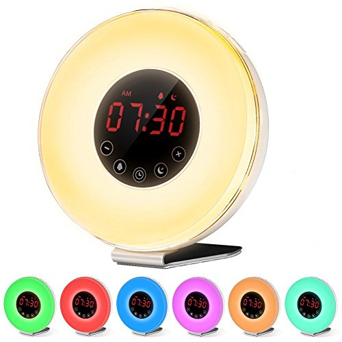 Wake Up Light Sunrise Alarm Clock, Hoyee 7 Colors Sunrise Simulation Daylight Alarm Clock for Heavy Sleepers, Dusk Fading Night Light with Nature Sounds, FM Radio, Touch Control and USB Charger