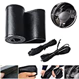 """Super PDR Leather Car steering wheel cover wrap Universal fit black Non-Slip Stitch On Wrap,38cm/15"""""""
