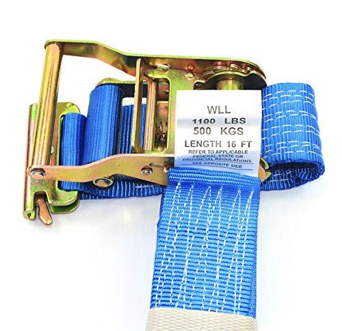 WorldPac (Pack of 4) 2 Inch by 16 Feet E Track Fitting Tie Down Ratchet Strap - Cargo Management by WorldPac (Image #2)