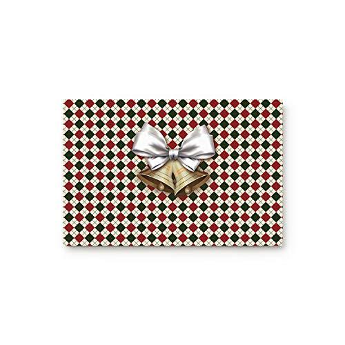- MUSEDAY Christmas Entryway Door Rug Floor Mat 20x31.5inch Golden Bells Classic Grid Background Xmas Design Doormat Indoor Shoe Scraper Rubber Entrance Mat for Living Dining Dorm Room