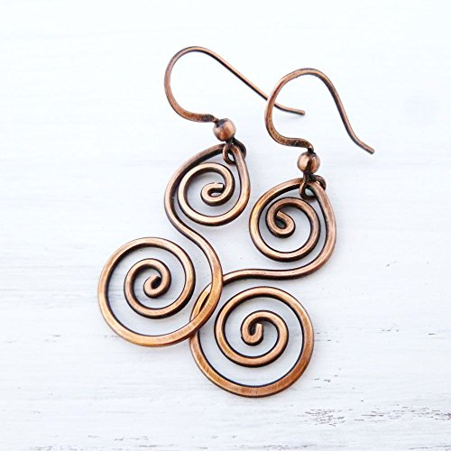 Handmade Wire Wrapped Earrings - Handmade solid Copper Double Spiral wire wrapped Earrings