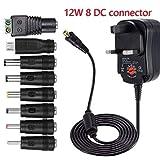 variable power supply, multi voltage power adapter Universal 12W 3V 4.5V 5V 6V 7.5V 9V 12V 1A 1000mA Regulated Multi Voltage Switching Replacement Power Supply Adapter Charger (12W 8 DC Tips)