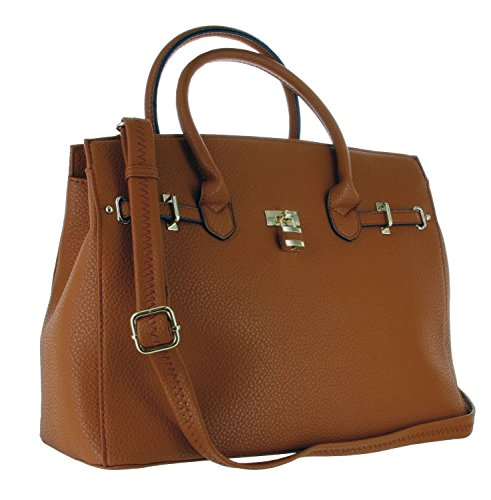 Alyssa Designer Inspired Faux Leather Satchel Padlock Style Shoulder Handbag - Brown