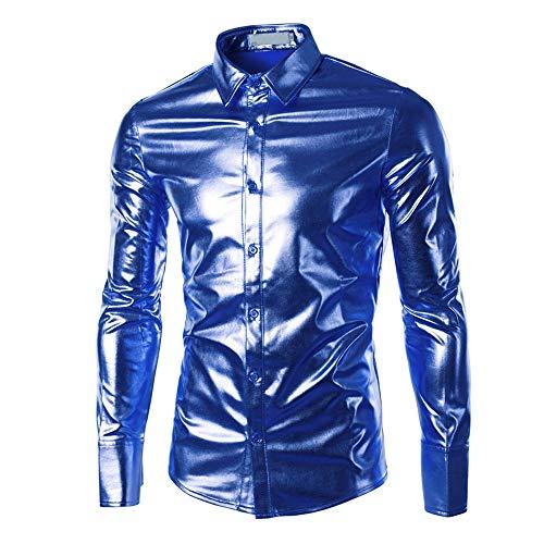 Hommes Avec Chemises Ihengh À Tops Blouse Nouvelles Revêtement Longues Hauts Mode Bleu De les Peintes Manches Brillant Surface 1zqzdw