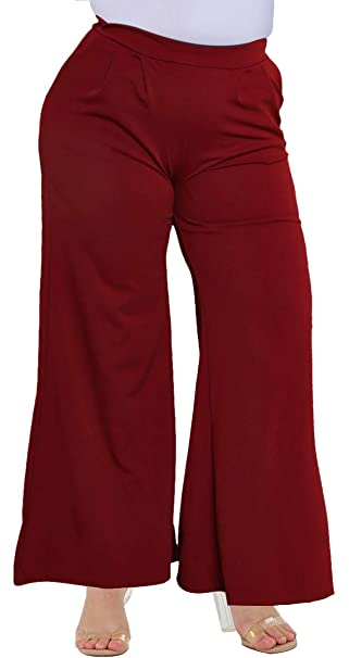 748d164565d Delcoce Woman Plus Casual Pants with Pockets Zipper Long Flare Work Trousers  XL Wine Red