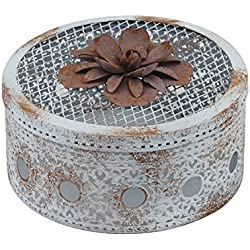 Stonebriar Antique Metal Floral Potpourri Box, Decorative Small Jewelry Holder, Multifunctional Use for Keepsakes, Coins, Collectables, Trinkets, and Much More, Medium