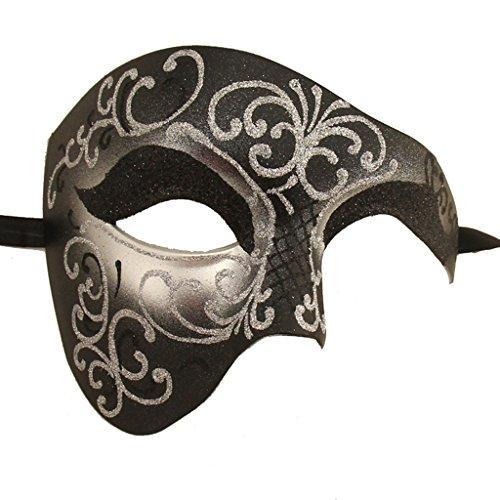 Xvevina Cool Men Half Face Phantom of The Opera Costume Masquerade Mask for Men Black -
