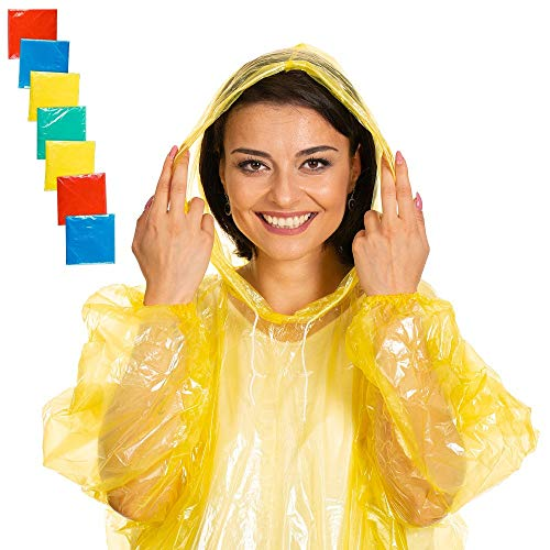 (Rain Poncho - Portable & Disposable - Emergency Rain Ponchos 100% Waterproof - With Drawstring Hood And Elastic Sleeve - 50% Thicker 7 PACK for Adults - Poncho for Men Women)