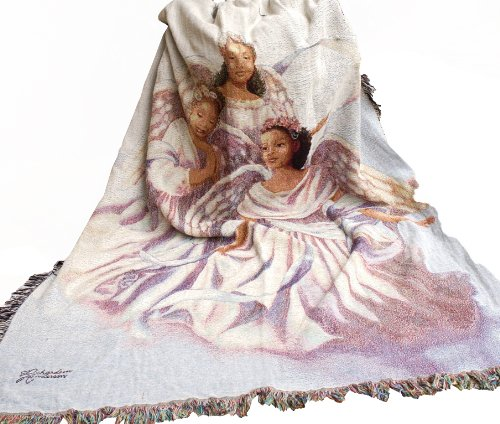 Manual Woodworkers & Weavers Inspirational Collection Tapestry Throw, Angelic Trio, 50 by 60-Inch ()