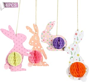 Fruitful Party 4Pcs Bunny Decorations For Home, Colorful Rabbit With 3D Honeycomb Paper Egg Ball, Hanging In Varities Occasion To Highlight The Bunny Party Theme