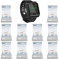 SINGCALL Wireless Waiter Calling System, Long Distance to Receive,150ft indoors,For Cafe,Call Waiter,Big Screen, Pack of 10 Pagers and 1 Watch Receiver