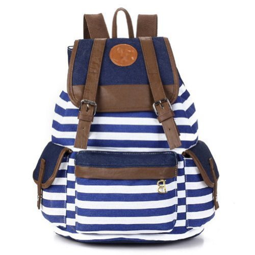 Rbenxia Canvas Backpack School Bag Stripe School College Bag for Teens Students Unisex Shoulder Daypack Handbag in Navy Style Knapsack with Striped Pattern for Girls Boys