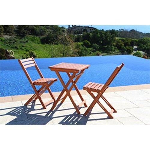 Marbrisa Dining Table (Natural Hardwood Slatted Design Patio Furniture 3-Piece Bistro Set)