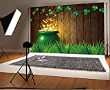 Cheap Laeacco 10×6.5ft Vinyl Photography Backdrop Lucky Shamrock Green Clover Grassland Rustic Wood Board Pot of Gold St.Patrick's Day Photo Background Children Baby Adults Portraits Holiday Symbol