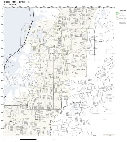 New Port Richey Zip Code Map Amazon.com: ZIP Code Wall Map of New Port Richey, FL ZIP Code Map