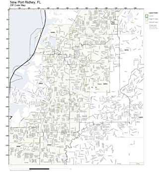 Amazon Com Zip Code Wall Map Of New Port Richey Fl Zip Code Map