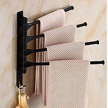 Swivel Towel Bar,V-mix Wall Mounted Space Aluminum 4-Arm Bathroom Swing Hanger Towel Rack Holder Storage Organizer Space Saving Wall Mount