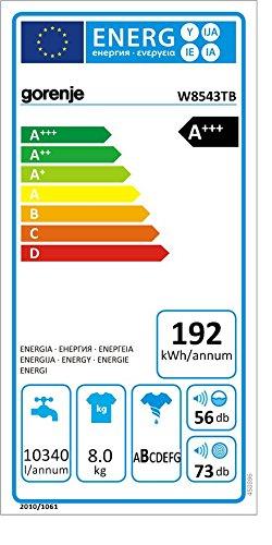 Gorenje W8543TB - Lavadora (Independiente, Negro, Frente, 8 kg ...