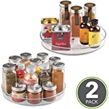 """mDesign Turntable Lazy Susan Organizer Rack for Kitchen Pantry, Cabinet, Countertops - Pack of 2, 9"""", Clear"""