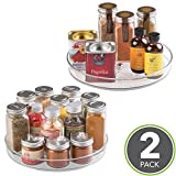 """mDesign Lazy Susan Turntable Food Storage Container for Cabinets, Pantry, Refrigerator, Countertops, BPA Free - Spinning Organizer for Spices, Condiments, Baking Supplies - 9"""" Round, Pack of 2, Clear"""