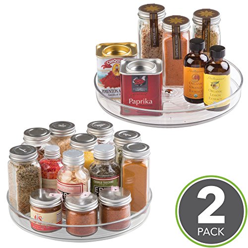 Plastic Lazy Susan - mDesign Lazy Susan Turntable Food Storage Container for Cabinets, Pantry, Refrigerator, Countertops, BPA Free - Spinning Organizer for Spices, Condiments, Baking Supplies - 9
