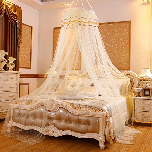 European Children Pink Mosquito Net, Bedroom Dome Ceiling Round Princess Girl Bed Canopies Mosquito Curtain-I Queen1 by DE&QW