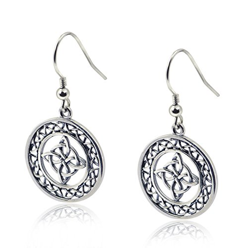 YFN Celtic Knot Round Drop Earrings Vintage Sterling Silver Triquetra Trinity Medallion Wire Earrings for Women - Celtic Continuous Band Knots